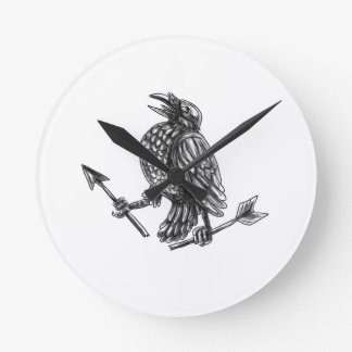 Crow Clutching Broken Arrow Tattoo Round Clock