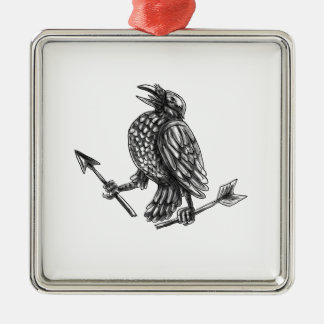 Crow Clutching Broken Arrow Tattoo Silver-Colored Square Ornament