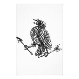 Crow Clutching Broken Arrow Tattoo Stationery