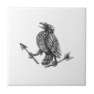 Crow Clutching Broken Arrow Tattoo Tile