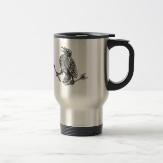 Crow Clutching Broken Arrow Tattoo Travel Mug