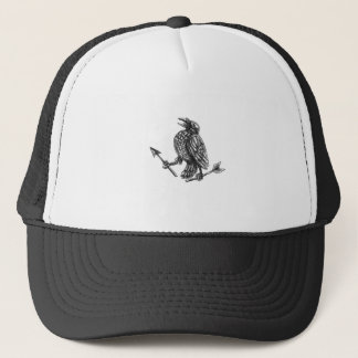Crow Clutching Broken Arrow Tattoo Trucker Hat