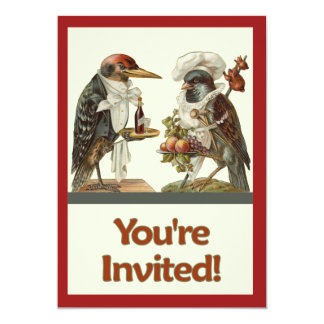 Crow Cook and Woodpecker Bartender Invitation
