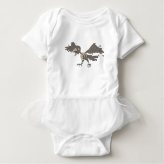 Crow Creepy Zombie With Rotting Flesh Outlined Baby Bodysuit
