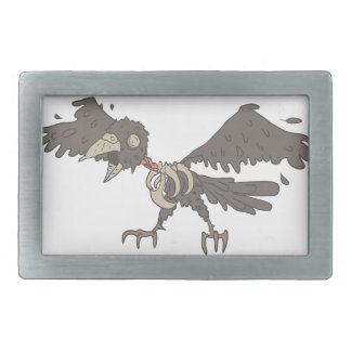 Crow Creepy Zombie With Rotting Flesh Outlined Belt Buckles