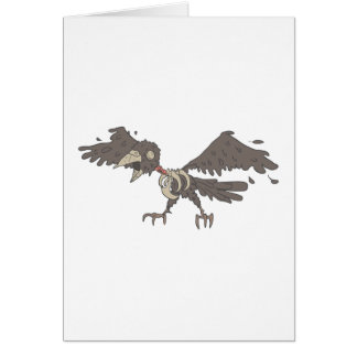 Crow Creepy Zombie With Rotting Flesh Outlined Card