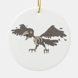 Crow Creepy Zombie With Rotting Flesh Outlined Ceramic Ornament