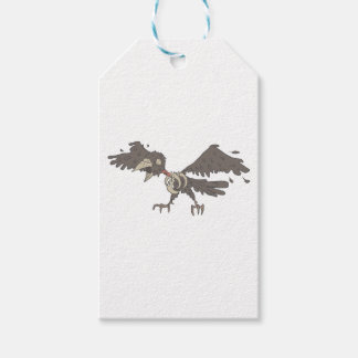Crow Creepy Zombie With Rotting Flesh Outlined Gift Tags