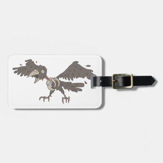 Crow Creepy Zombie With Rotting Flesh Outlined Luggage Tag
