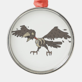 Crow Creepy Zombie With Rotting Flesh Outlined Metal Ornament