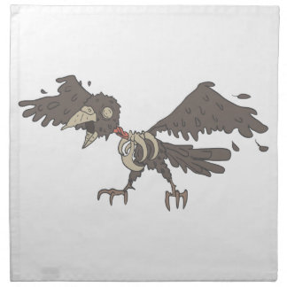 Crow Creepy Zombie With Rotting Flesh Outlined Napkin