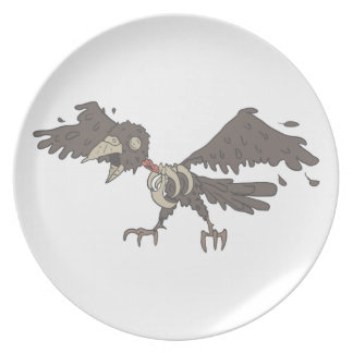 Crow Creepy Zombie With Rotting Flesh Outlined Plate