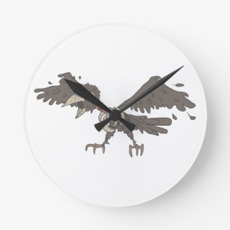 Crow Creepy Zombie With Rotting Flesh Outlined Round Clock