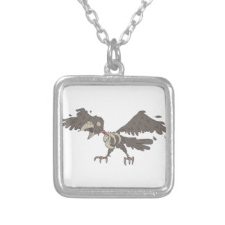 Crow Creepy Zombie With Rotting Flesh Outlined Silver Plated Necklace
