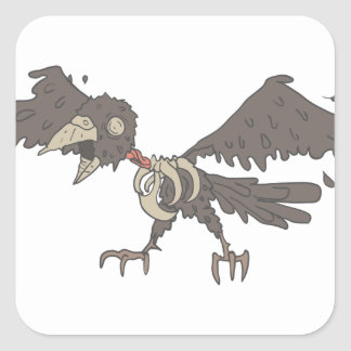 Crow Creepy Zombie With Rotting Flesh Outlined Square Sticker