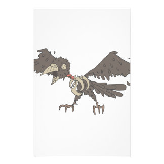 Crow Creepy Zombie With Rotting Flesh Outlined Stationery