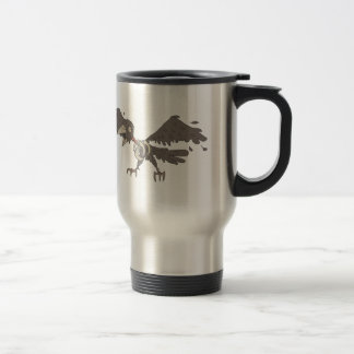 Crow Creepy Zombie With Rotting Flesh Outlined Travel Mug