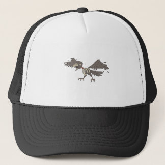 Crow Creepy Zombie With Rotting Flesh Outlined Trucker Hat