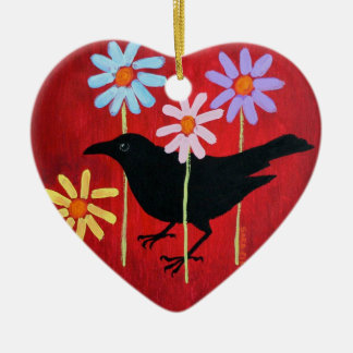 Crow & Daisies Ornament