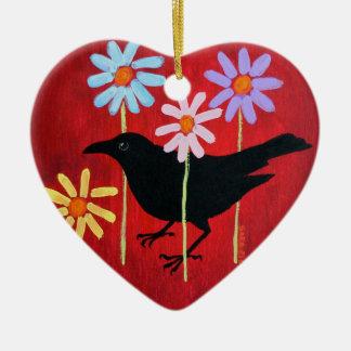 Crow & Daisies Ornament