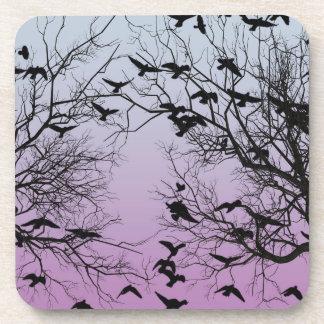 Crow flock beverage coaster