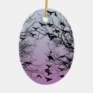 Crow flock ceramic oval ornament
