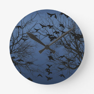 Crow flock round clock