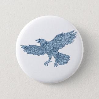 Crow Flying Mandala 2 Inch Round Button