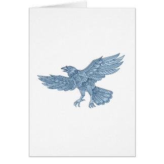Crow Flying Mandala Card