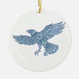 Crow Flying Mandala Ceramic Ornament