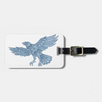 Crow Flying Mandala Luggage Tag