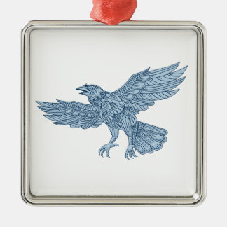 Crow Flying Mandala Metal Ornament