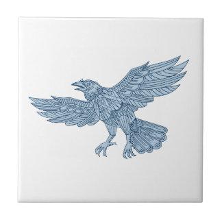 Crow Flying Mandala Tile