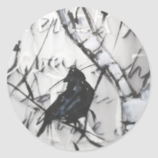 Crow in Birch Classic Round Sticker