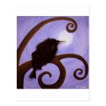Crow in moonlight postcard