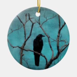 Crow In Tree Round Ceramic Ornament
