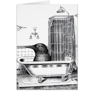 Crow in Vintage Bath Tub Card