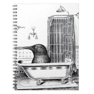 Crow in Vintage Bath Tub Notebooks