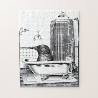 Crow In Vintage Bathtub Jigsaw Puzzle