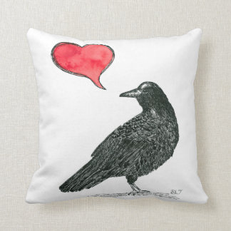 Crow Love Throw Pillow