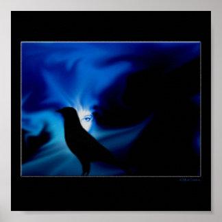 Crow Northern Lights Ethereal Poster Print