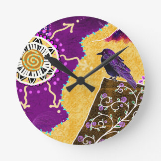 Crow on a book round clock
