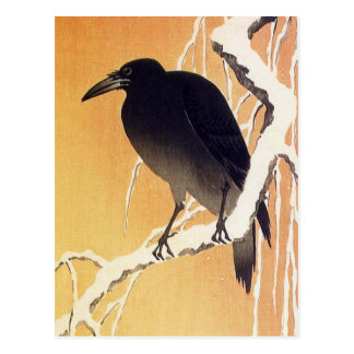 Crow on a Branch by Ohara Koson Vintage Postcard