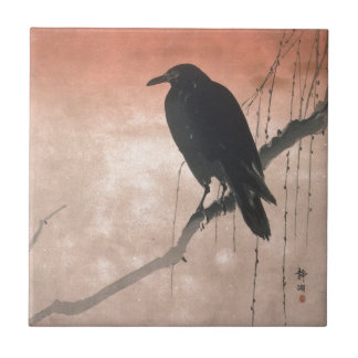 Crow on a Willow Branch Tile