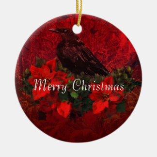 Crow on Poinsettias and Holly Christmas Ornament