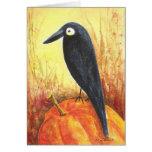 Crow on Pumpkin Greeting Cards
