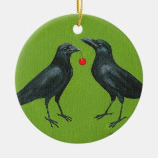 crow pair w/cherry ornament