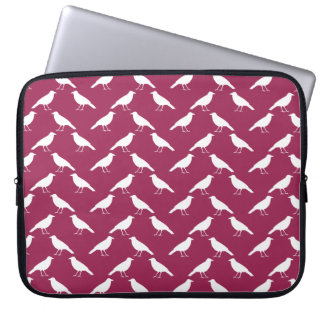 Crow Pattern. Burgundy and White. Laptop Sleeve