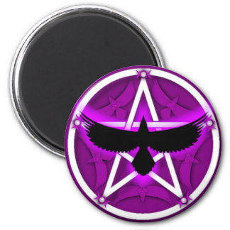 Crow Pentacle - Purple 2 Inch Round Magnet