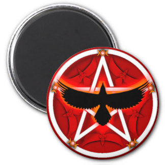 Crow Pentacle - Red 2 Inch Round Magnet